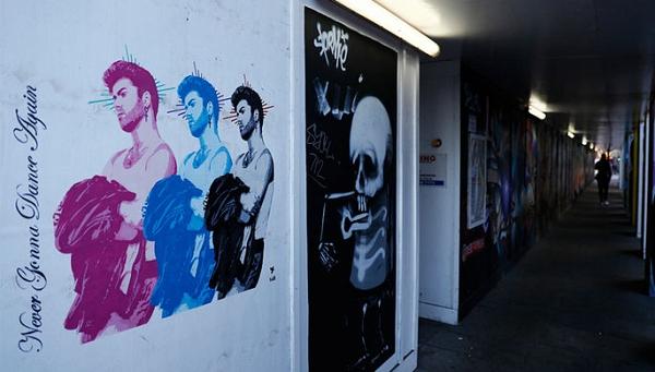 Уличный художник Pegasus создал триптих в честь Джорджа Майкла
