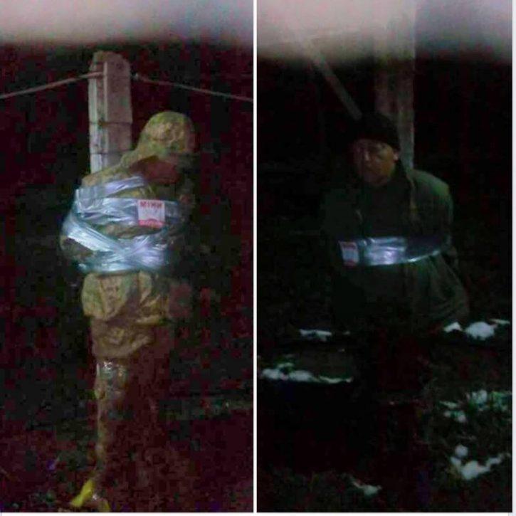 Солдаты ВСУ привязали к столбу беспробудно пьющих командиров